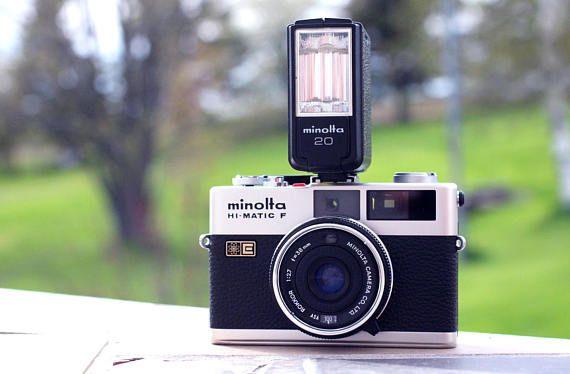 Vintage Minolta Hi-Matic F, Mise au point télémétrique, Vintage, Caméra Vintage, Appareil Photo Argentique, Rétro, Minolta Flash, Collection