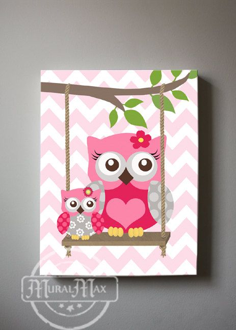 Pink and Gray Girl Nursery Owl Decor Nursery wall by MuralMAX