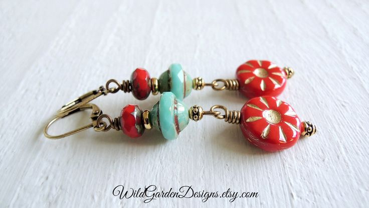 Red Gold Turquoise Earrings Czech Glass Earrings Red Flower Dangles Colorful Bohemian Fun Earrings Gift for Her Red Earrings Garden Inspired by WildGardenDesigns on Etsy