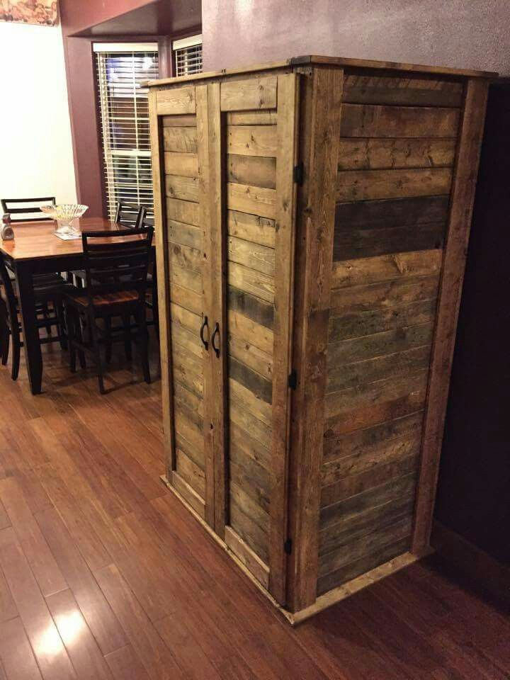 17 Best Ideas About Pallet Cabinet On Pinterest Bookshelf Pantry Pallet Pantry And Pallet Storage