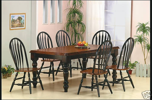 Antique Black Cherry Wood Farmhouse Dining Table Set