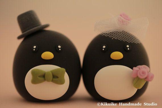 Pinguine Hochzeitstorte topper von MochiEgg auf Etsy, $65.00