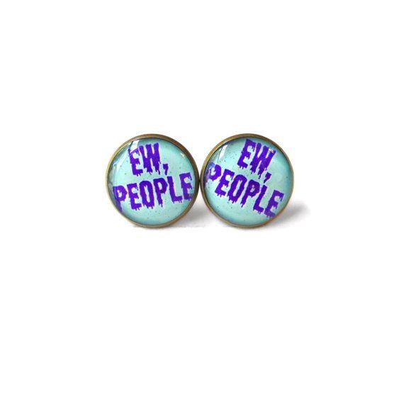 Kawaii ew people Stud Earrings  Soft Grunge Pastel by SnarkFactory, $10.00