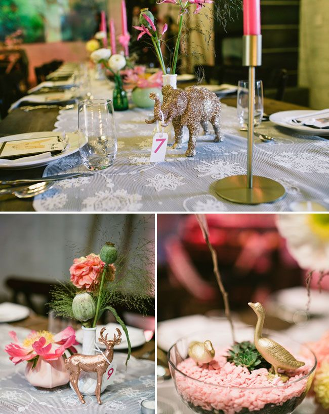 glitter animals, Love all the details of this wedding!