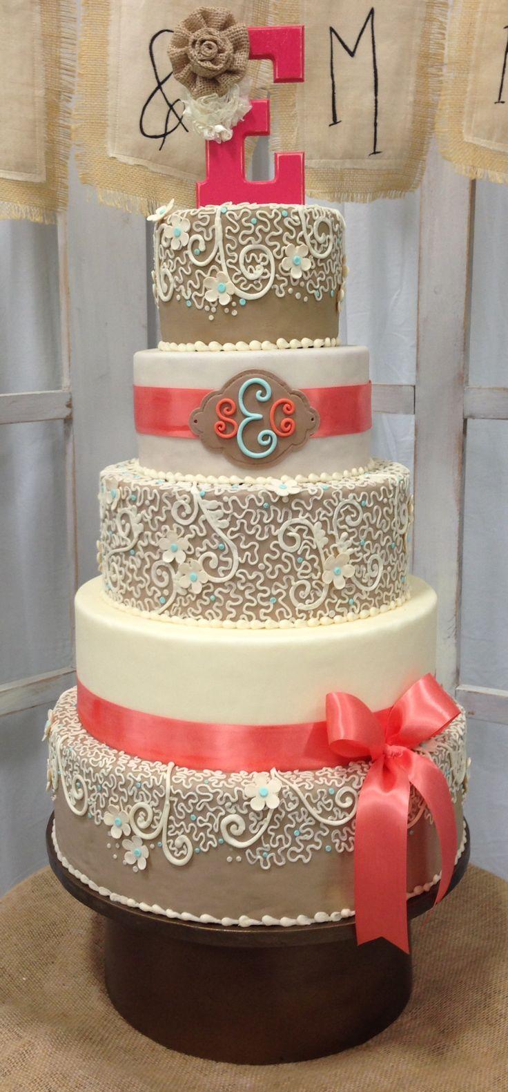 Coral Sunflower And Burlap Wedding Cakes Wedding Cake