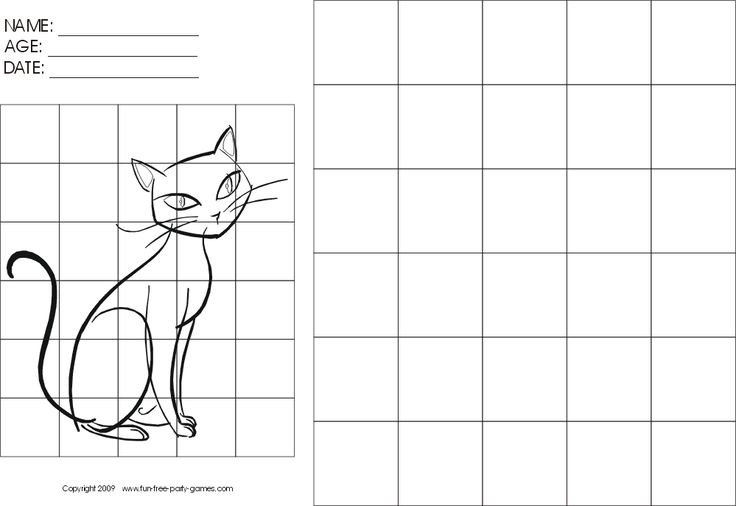 Grid Art Worksheets | Drawing-with-Grids Activity: Cartoon Sitting Cat by Fun Free Party ...