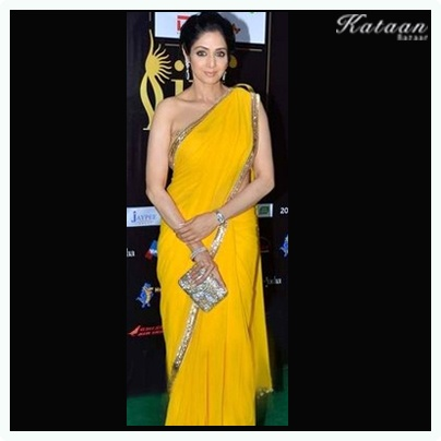 #Sridevi in a beautiful & elegant YELLOW saree