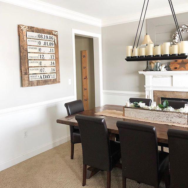 Pretty Dining Room With Chair Rail And Barn Door Shiplap Foyer Woodsign Handlettering Farmhousedecor Farmhouse Modernfarm Home Decor Room Dining Room