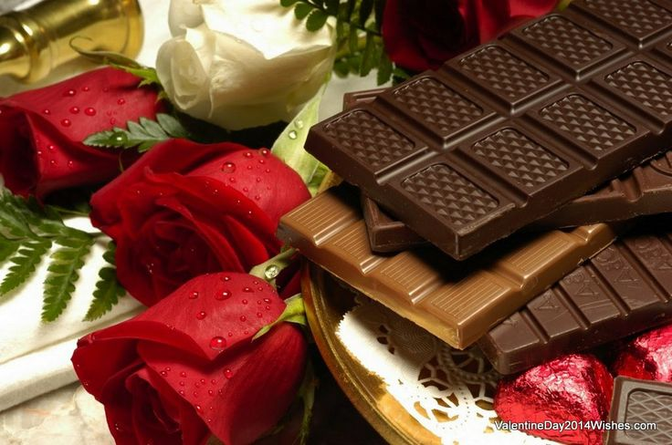 Chocolate Day Wallpaper HD - Roses and Chocolates [ValentineDay2014Wishes.com]