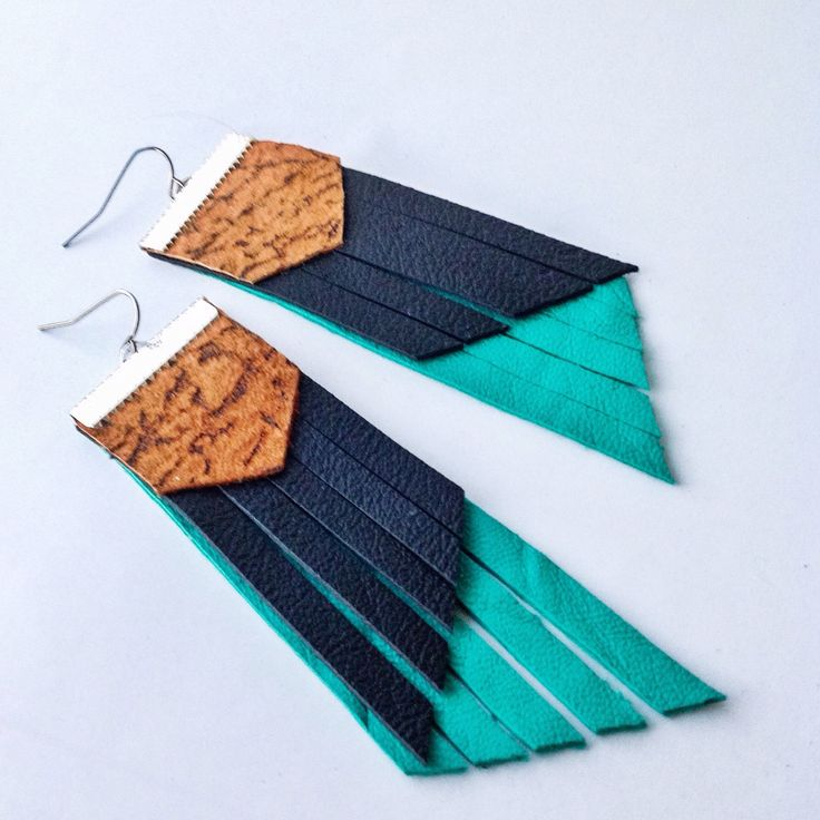 A personal favourite from my Etsy shop https://www.etsy.com/au/listing/517106716/teal-earrings-black-leather-black
