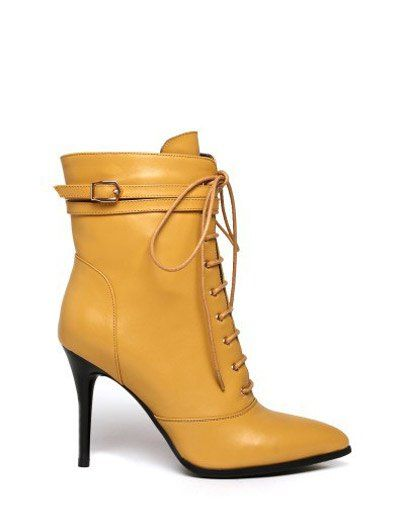 Leather Pointed Toe Lace-Up High Heel Boots #shoes, #jewelry, #women, #men, #hats
