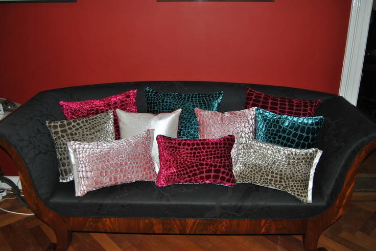 Couch upholster with Designers Guild fabric and also the cushions, the design of the cushions is our own design.