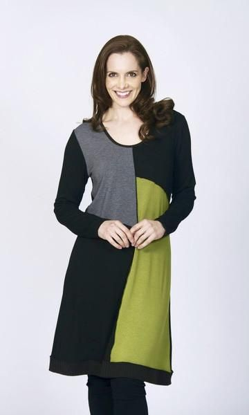 Splice Dress by Tres Belle is lime, grey and black coloured longed sleeved relax fit Tres Belle is a collection of on trend, off-duty clothing for today's woman. Renowned for its use of chic, contemporary prints in shapes that flatter the female