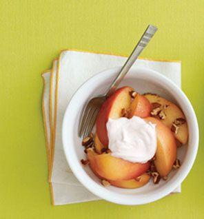 delicious breakfast idea- In a shallow microwave-safe bowl, combine 2 tbsp water, 1 tsp honey, 1/8 tsp cinnamon; add 1 large sliced baking apple. Microwave 2 minutes; stir; microwave until apple is soft, 1 minute. Top apple mixture with 1 cup nonfat plain Greek yogurt; sprinkle with 2 tbsp chopped pecans. This sounds wonderful.