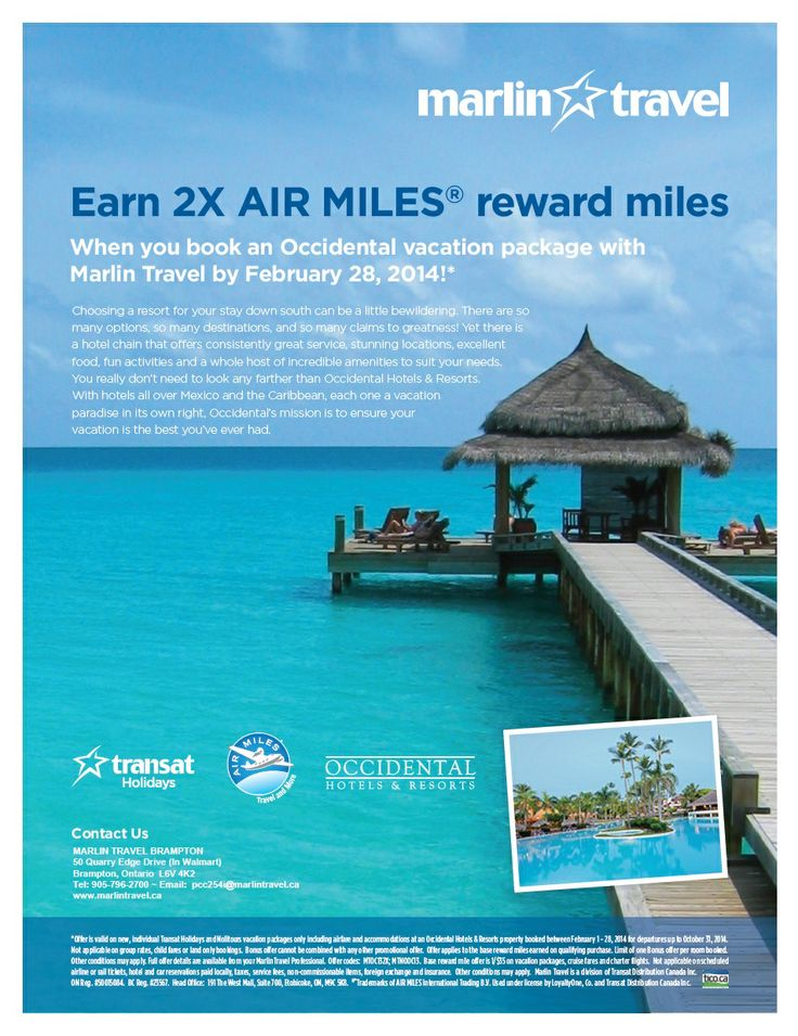 EARN 2X AIR MILES reward miles when you book a vacation package with Occidental Hotels & Resort with Transat Holidays/Nolitours before Febraury 28th, 2014!   Call (905) 796-2700 to book today!