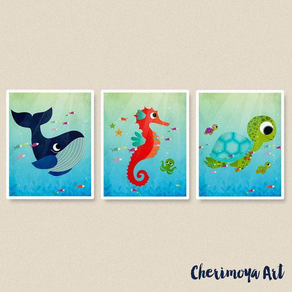 Sea Turtles Nursery Wall Art Print Kids Room Decor Childrens Wall