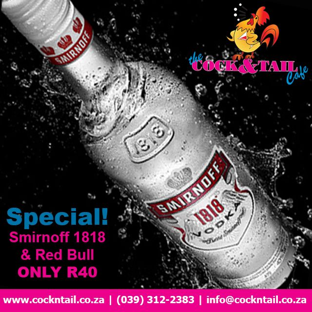 Special! @RedBullZA 1818 & @RedBullZA only R40 exclusively at The Cock & Tail Cafe #CockTails http://bit.ly/ctcscl1
