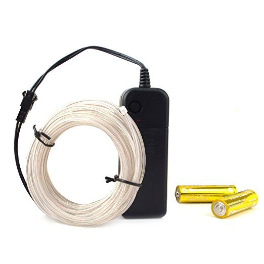 Escolite EL Wire White Neon Light Electroluminescent Inverter Battery Driver for Clothing Costume Shoelaces Car 15FT