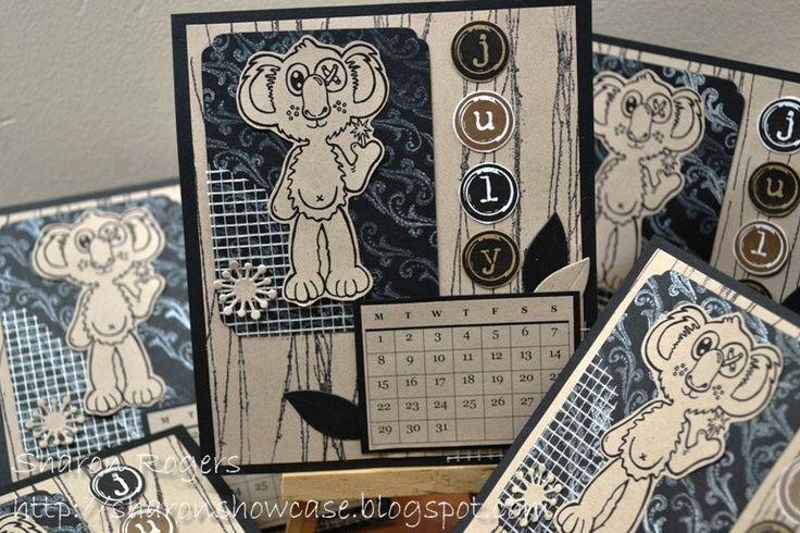 Angie Delarie Scrapbooking, http://sharonshowcase.blogspot.com, Koala, Australia, Australiana, Calendar, Kraft