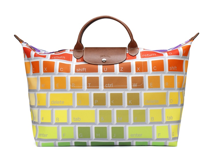 "Le Pliage ""Keyboard"" - Collaboration with Jeremy Scott. Front view. Longchamp Collection FW 2012"