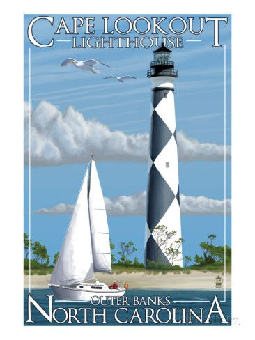 Cape Lookout Lighthouse - Outer Banks, North Carolina Posters sur AllPosters.fr                                                                                                                                                                                 Plus