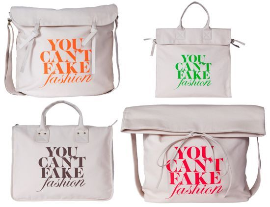 limited edition totes from the new *YOU CAN'T FAKE FASHION* campaign - a collaboration between eBay & the CFDA: Canvas Bags, Cool Bag