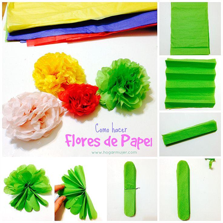 Como hacer flores y pompones de papel