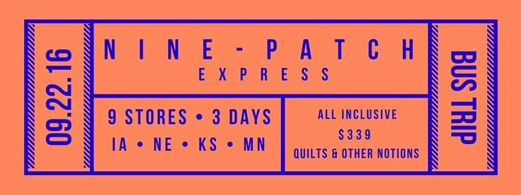 Join Joyce Franklin and Barb Hudson on the 'Nine-Patch Express' bus trip Sept 22-24! Enjoy a fun & relaxing 3-day tour of 9 premier quilt shops in Iowa, Kansas, Minnesota and Nebraska! One price includes meals, lodging and bus fare for only $339.