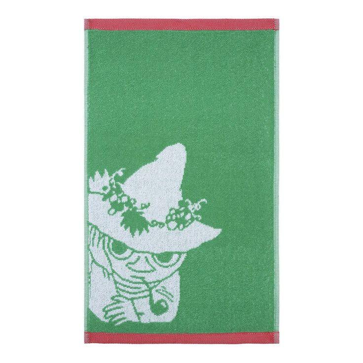 The new Snufkin�hand�towel by Finlayson presents a lovely pattern with Snufkin�in a green�colour. The towel is made of 100 % cotton and is a great companion at home or at the summer cottage. Size 30 x 50 cm.Finlaysonin uudistuneen pyyhemalliston rauhallisessa�kuvituksessa n�hd��n Nuuskamuikkunen, v�rin� vihre�. K�sipyyhe on 100 % puuvillaa ja se sopii yht� hyvin kotiin kuin kes�m�killekin. Koko 30 x 50 cm.Finlaysons f�rnyade handduks kollektion med vacker och lugn bild p� Snusmumriken i…