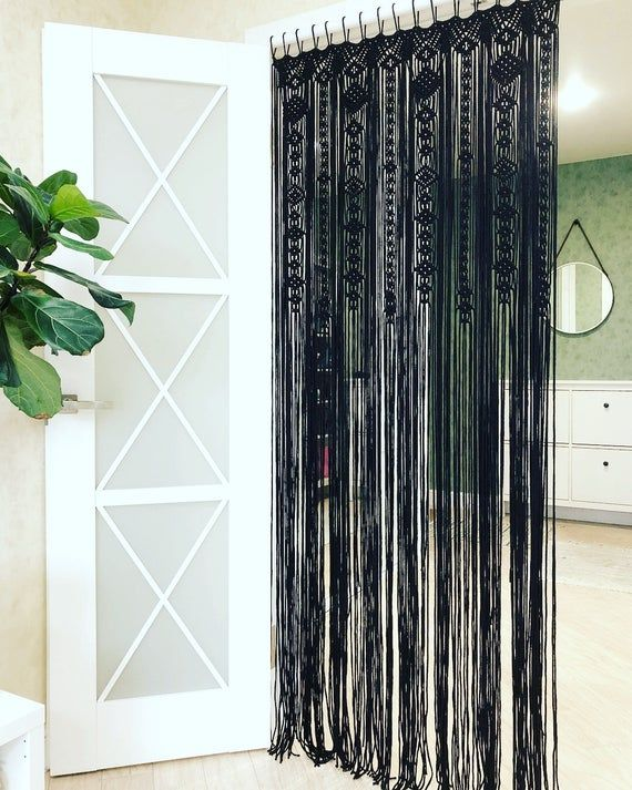 Large Macrame Door Curtains Of 2 Or 1 Panels Macrame Window Black