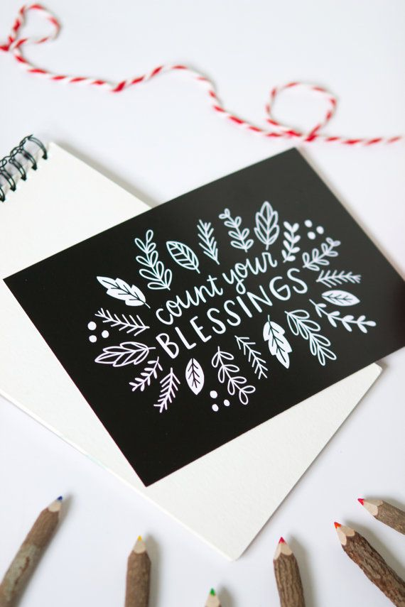 Count Your Blessings Hand Lettered Black and white by alexazdesign