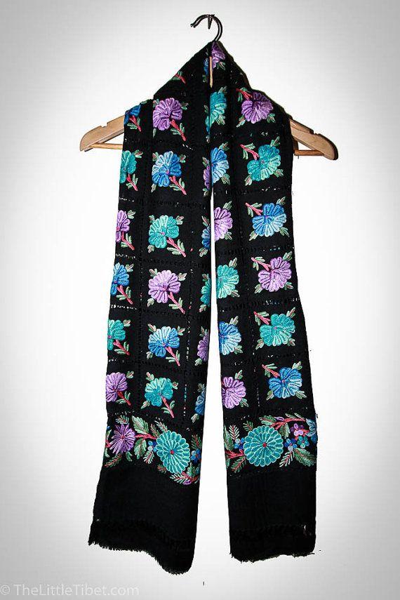 Kashmiri Wool Handmade Shawl embroidery Shawl / by TheLittleTibet