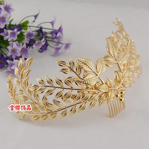 Золотые листья греческой богини невесты повязка на лбу волосы полосы в стиле барокко венец короны диадемы свадьба аксессуары для волос - Taobao