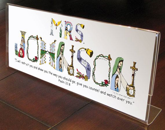Personalized teacher gift sign from The Christian Alphabet™ to create a unique, personalized Christian gift for teachers. WHAT IS IT? We