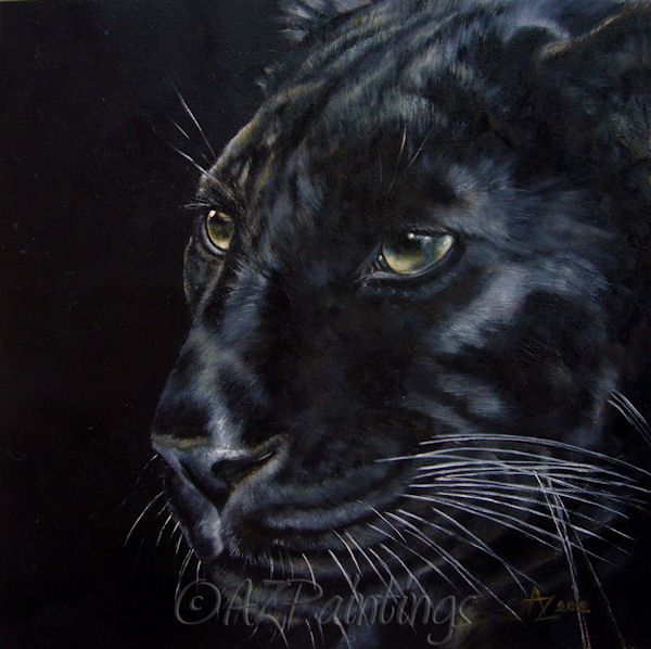 Black As Night - Black Panther / Leopard oil painting by Anne Zoutsos