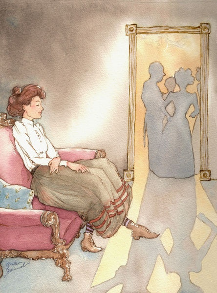 Victorian Jacqueline by Greta Schimmel on artflakes.com as poster or art print $18.44  Illustration; September, 2009  Ink, watercolor on watercolor paper and digital adjustment reproduced in print. This Victorian woman contemplates the joy found in solitude.