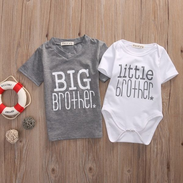 Family Matching Brother Clothes Newborn Baby Boys Romper Bodysuit Big Brother T Shirt Tee Tops En 2020 Camisetas Monos Ropa Ropa De Verano