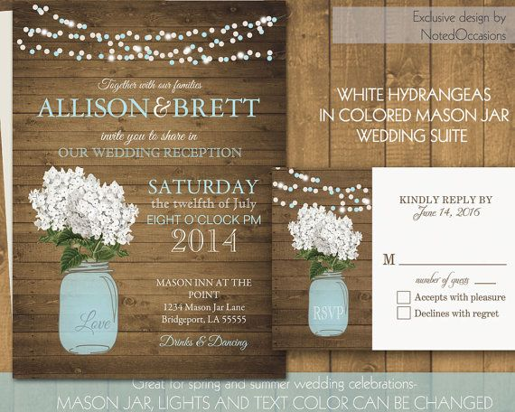 Mason Jar Wedding Invitation Suite - Rustic White Hydrangeas in a soft blue mason jar - Country Wedding Invitations