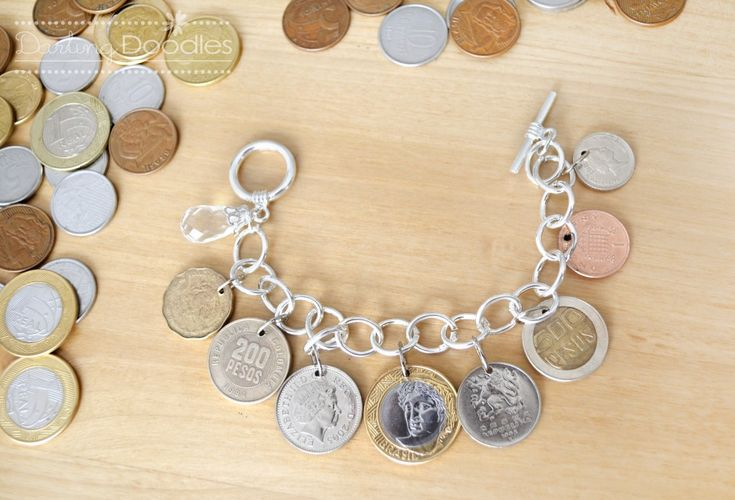 Coin BraceletTravel Memories, Diy Coins, Travel Obsession, 19 Diy, Cool Ideas, Charms Bracelets, Bracelets Crafts, Coins Bracelets, Diy Projects
