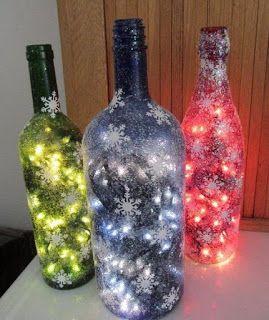 Tutorial para reciclar y decorar botellas de vidrio con luces de navidad