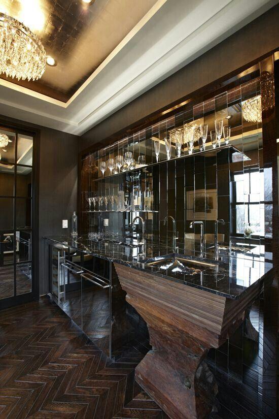 With Mirror Behind Bar Design Kitchen Design Bars For