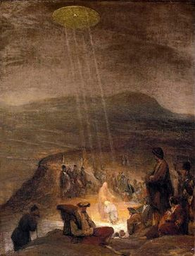 """1710  In the painting by Flemish artist Aert De Gelder, """"The Baptism of Christ"""" (1710) depicts Jesus and John the Baptist bathed in a warm light beamed down in rays from a disk in the sky."""