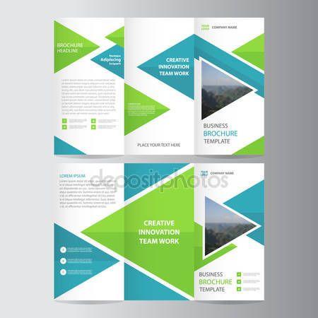 ダウンロード - 緑色の青い三角形 3 つ折りビジネス チラシ パンフレット フライヤー テンプレート ベクトル ミニマルなフラット デザイン セット — ストックイラストレーション #110095900