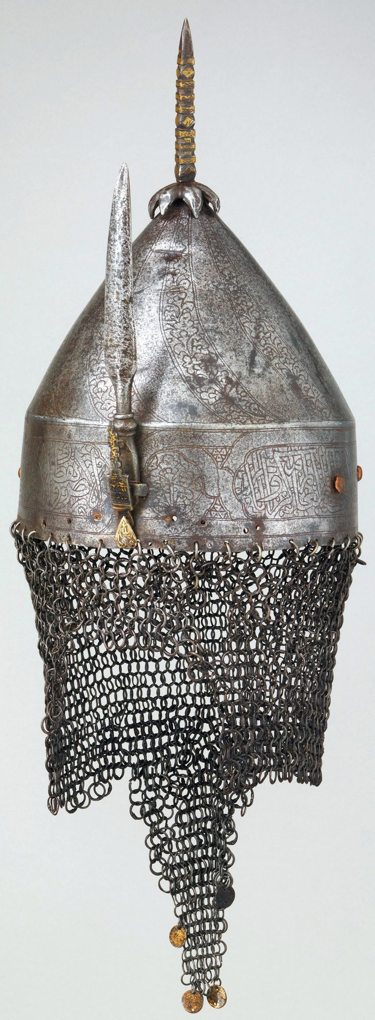 Ottoman helmet, 16th century, steel, gold, copper, brass, H. including mail 24 1/2 in. (62.2 cm); H. 8 in. (20.3 cm); W. 8 1/2 in. (21.6 cm); D. 8 3/4 in. (22.2 cm); Wt. excluding mail 3 lb. 3.8 oz. (1468.5 g), Bequest of George C. Stone, 1935, Met Museum.