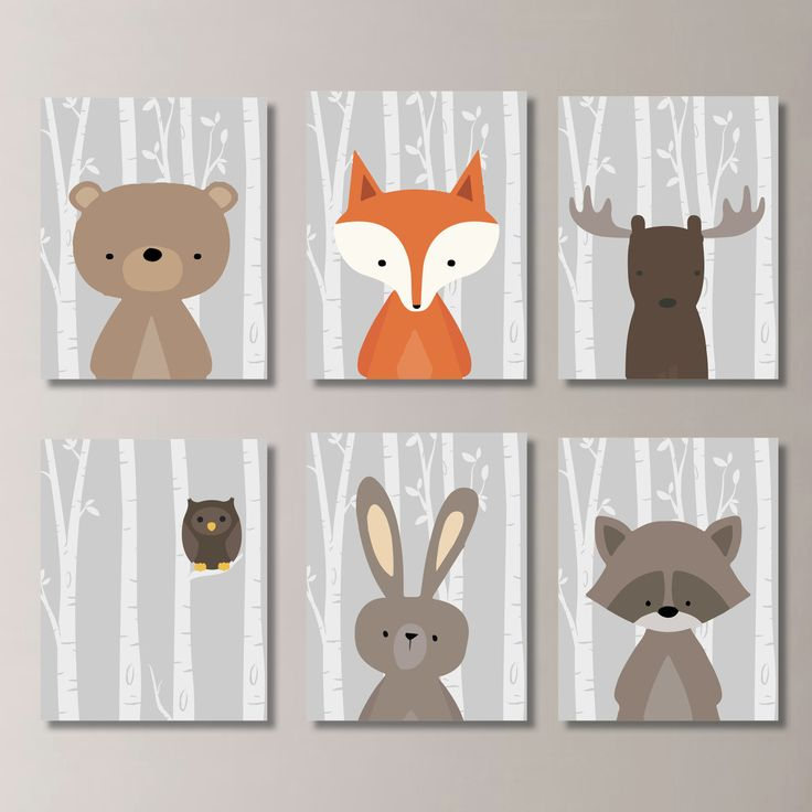 Woodland Nursery Art: This six-print set features six images of woodland animals: moose, bear, owl, raccoon, rabbit and fox, on a birch