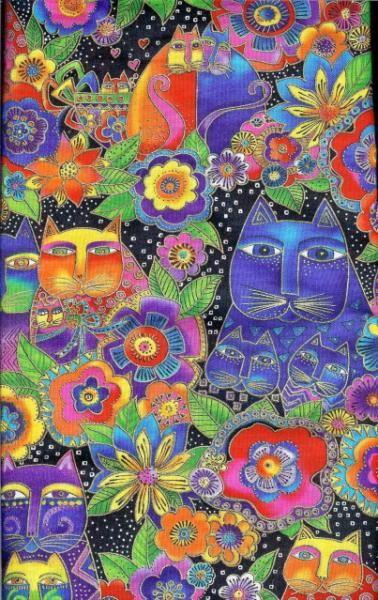 Laurel Burch Clothworks Fabric Carlotta Cats by JustFabric
