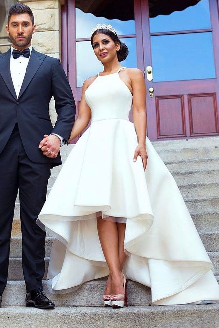 Simply Straps High Low White Wedding Dress White Wedding Dresses