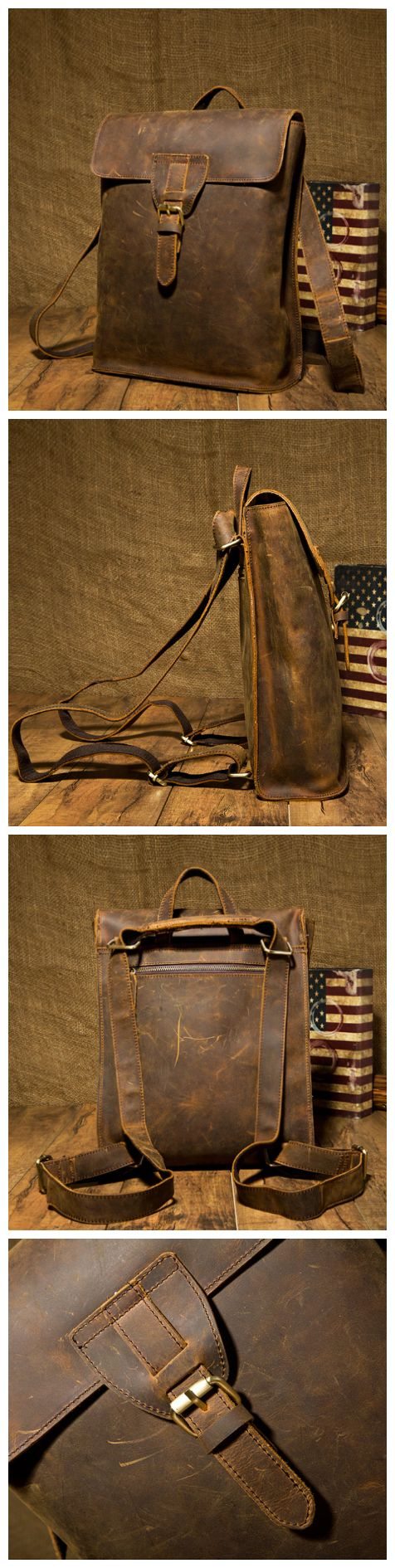 Handmade Leather Backpack /Vintage Leather Macbook Briefcase 2-in-1 Leather School Bag Backpack (M101) - Thumbnail 4