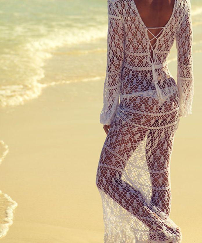 crochelinhasagulhas: Maxi vestido branco em crochê by Anna Kosturova