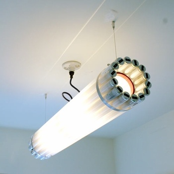 Check out this cool recycled fluorescent tube lamp